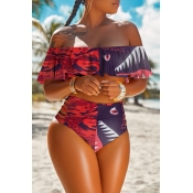 lovely High-waisted Print Patchwork Wine Red Two-piece Swimsuit