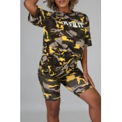 lovely Casual O Neck Letter Camo Print Two-piece S