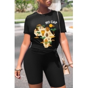 lovely Casual Letter Print Black Plus Size Two-pie