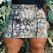 lovely Casual Camo Print Army Green Skirts