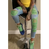 lovely Stylish Broken Holes Light Green Jeans