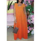 lovely Bohemian Lace-up Loose Orange Red Maxi Dres
