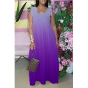 lovely Bohemian Lace-up Loose Purple Maxi Dress