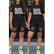lovely Street Letter Print Black Two-piece Shorts