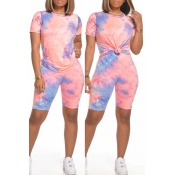 lovely Casual O Neck Tie-dye Pink Two-piece Shorts