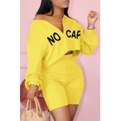 lovely Leisure Letter Yellow Two-piece Shorts Set
