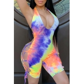 lovely Sexy Tie-dye Purple One-piece Romper