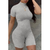 lovely Leisure Basic Skinny Grey One-piece Romper