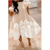 lovely Stylish Print White Knee Length Dress