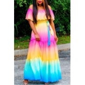 Lovely Casual Off The Shoulder Print Patchwork Multicolor Maxi Dress