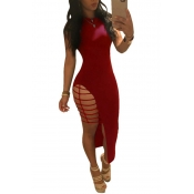 lovely Sexy O Neck Hollow-out Wine Red Ankle Lengt