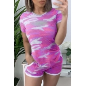 lovely Leisure Tie-dye Rose Red Two-piece Shorts S