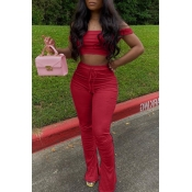 Lovely Casual Dew Shoulder Red Two-piece Pants Set