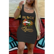 lovely Leisure U Neck Lip Print Black Mini Dress