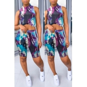 lovely Casual Tie-dye Black Two-piece Shorts Set
