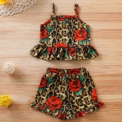 lovely Bohemian Print Brown Girl Two-piece Shorts