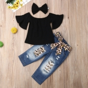 Lovely Stylish Patchwork Black Girl Two-piece Pant