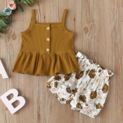 lovely Sweet Print Brown Girl Two-piece Shorts Set