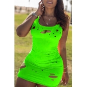 Lovely Casual Broken Holes Green Mini Dress