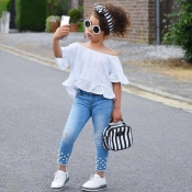 lovely Casual Off The Shoulder White Girl Two-piece Pants Set