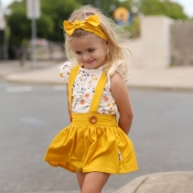 lovely Casual Print Yellow Girl Two-piece Skirt Se