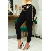 Lovely Casual High-waisted Broken Holes Black Jean