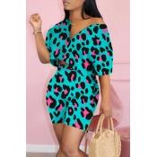 Lovely Street Leopard print Blue Two-piece Shorts