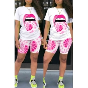 lovely Leisure Lip Print Pink Two-piece Shorts Set