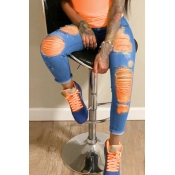 lovely Stylish Broken Holes Clear Orange Jeans