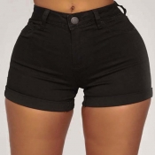 Lovely Trendy Buttons Design Black Plus Size Short