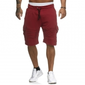 Lovely Casual Pocket Patched Red Shorts