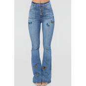 lovely Trendy Butterfly Baby Blue Jeans