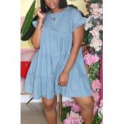 lovely Sweet O Neck Fold Design Baby Blue Mini Denim Dress