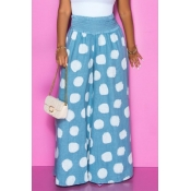 lovely Casual Dot Print Blue Pants