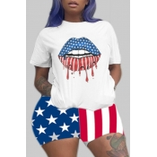 Lovely Independence Day Casual Lip Print Multicolor Plus Size Two-piece Shorts Set
