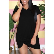 lovely Casual Knot Design Black Mini Dress