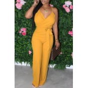 lovely Stylish Lace-up Yellow One-piece Jumpsuit
