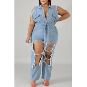 lovely Stylish Hollow-out Baby Blue Plus Size Deni