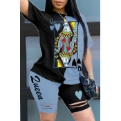 lovely Casual Print Patchwork Carbon Black Two-piece Shorts Set