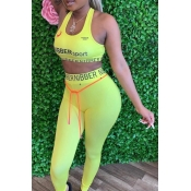 Lovely Sportswear Letter Light Yellow Two-piece Pants Set
