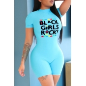 Lovely Casual Letter Print Baby Blue One-piece Rom