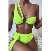lovely One Shoulder Cut-Out Green Two-piece Swimsuit