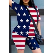 Lovely Independence Day Casual O Neck Print Red Tw