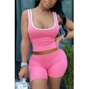 lovely Sportswear Patchwork Pink Two-piece Shorts Set