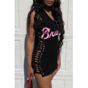 lovely Casual Bandage Design Black Mini Dress