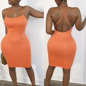 lovely Sexy Backless Orange Knee Length Dress
