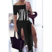 Lovely Casual Letter Side High Slit Black Maxi Dre