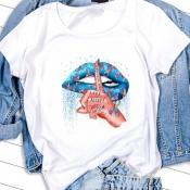 lovely Casual O Neck Lip Print Blue T-shirt
