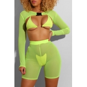 lovely See-through Green Four-piece Swimsuit