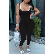 lovely Sportswear Patchwork Black One-piece Jumpsuit